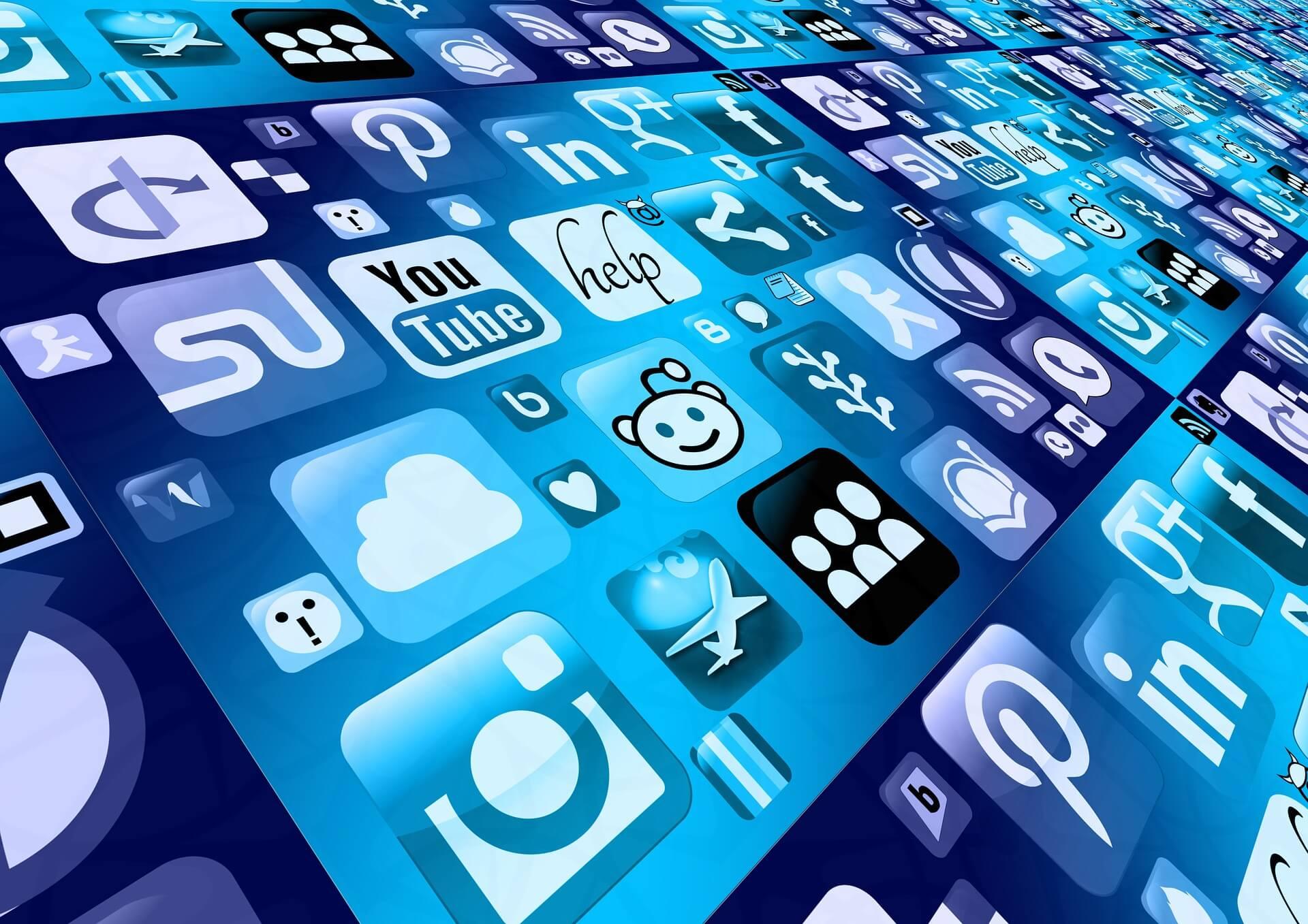 blue icons social media